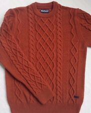 Barbour Kirktown Mens 100% Wool Crewneck Sweater Burnt Orange Size L(40-42)