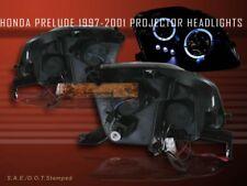 97-01 Honda Prelude Projector Headlights Led Angel Eyes Twin Halo Black 98 99 00(Fits: Honda Prelude)