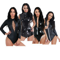 PVC Wetlook Leather Catsuit Women's Jumpsuit Bodysuit Clubwear Lingerie Leotard