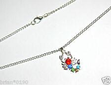 & Silver Design Scorpion Necklace, Crystal