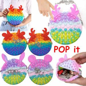 Popet Bubble Fidget Sensory Popit Bag Toy Simple Purse Wallet Handbag Girls Gift