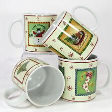 Sakura HAPPY HOLIDAYS 12oz Mug Cup Set 4Pc Gracey Knight Oneida NIB Christmas