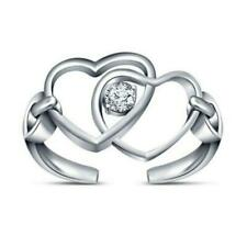 Heart interlock Solitaire Adjustable Toe Ring 14K White Gold Over Cz Double