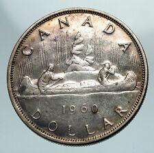1960 CANADA w UK Queen Elizabeth II Voyagers Genuine Silver Dollar Coin i84182