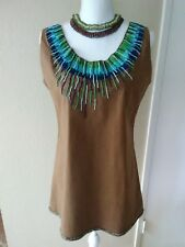 BALI MOON Hawaii Cotton Stretch Summer Mini Dress Beaded Sz L /Large / Fits S/M