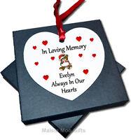 Personalised In Loving Memory Memorial Christmas Heart Tree Ornament Decoration