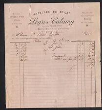 """NEUVILLE prés de BILLOM (63) PASSEMENTERIE & BLANCS """"LEGROS & CALAMY"""" en 1895"""