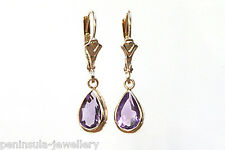 9ct Gold Amethyst LeverBack Drop Earrings, Gift Boxed