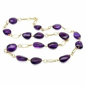ENZO LIVERINO 18K Gold Necklace With 331.50ctw Genuine Amethysts
