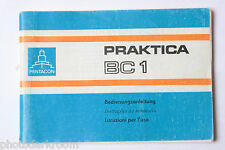 pentacon praktica BC1Camera Manual Instruction Book - Deut Ital Port - USED M1
