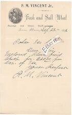 1902 FARINA ILLINOIS F. M. Vincent Jr. FRESH and SALT MEAT Sausage Letterhead