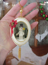 REAL Hand Decorated Carved Egg Christmas Tree Ornament Gift Frosty Snowman Clay
