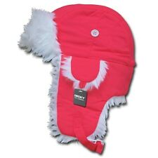 Neon Pink Aviator Bomber Faux Fur Winter Ski Trooper Trapper Ear Flap Hat L/XL