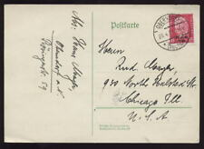 GERMANY 1933 CARD to USA...HINDENBERG OPT.SOLO FRANKING