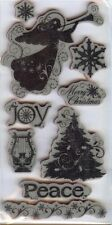 Rubber Cling Stamps PEACE ON EARTH  MERRY CHRISTMAS TREE ANGEL SNOWFLAKE JOY