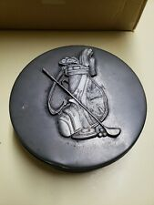 """Vintage Golf Pewter Emblem 8"""" Sewing Tin Trinket/Accessory Box Collectible Item"""