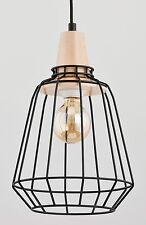 PEKA Modern metal wood pendant ceiling light in black Vintage Industrial