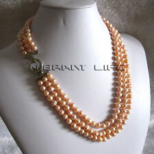"20-22"" 6-8mm Peach Pink 3row Freshwater Pearl Necklace Strand Necklace A AC"