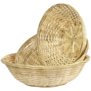 Multi-Purpose Round Woven Food Serving Storage Bread Basket, Set of 3 Sizes