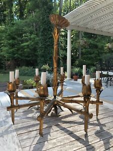 Vintage Faux Bamboo Tole Chandelier Gilt Chinoiserie Italian Hollywood Regency