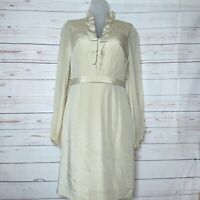 Kay Unger Silk Champagne  Long Sleeve Cocktail Dress Size 4 Pleated Ruffle