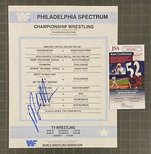 Macho Man Randy Savage WWF Signed Autograph 1986 Program Insert Match Card JSA