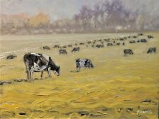 Sean Wu original oil painting 12x16 on canvas board, cows