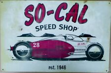 SO - CAL SPEED SHOP EST. 1946, METAL SIGN ALL WEATHER 450X300 AGED LOOK