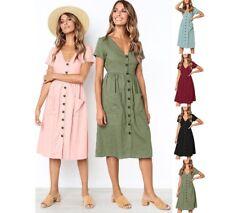 Women V Neck Holiday Tea Dress Beach Button Pocket Midi Swing Casual Dress