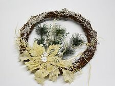 Twiggy ring with poinsettia and snow cream/white - 28cm - Christmas Decorations