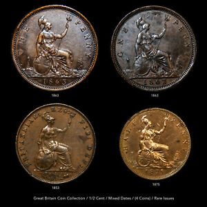 GREAT BRITAIN COIN COLLECTION - 1/2 & 1 PENNY - (4 COINS) RARE ISSUES