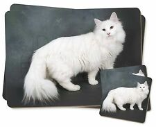 White Norwegian Forest Cat Twin 2x Placemats+2x Coasters Set in Gift B, AC-105PC