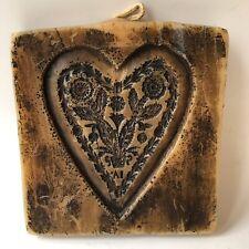 Vintage Wax Heart Mold Replica of Wood Springerle German Cookie Flowers