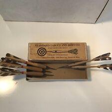 Vintage Antique Standard Target & Dart Co Wooden Darts W/Box