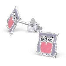 Childrens Kids Girls 925 Silver Owl Ear Studs with Crystal-Free Gift Box