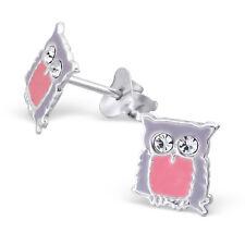 Para Niños Niños Niñas 925 Plata Zarcillos De Búho Con Cristal-Caja de Regalo Gratis