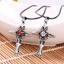 Stainless Steel Red White Crystal Necklace Crucifix Cross Pendant Chain Jewelry