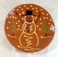 2003 Breininger Redware Glazed Slip Decorated Pie Plate Snowman Wearing Top Hat