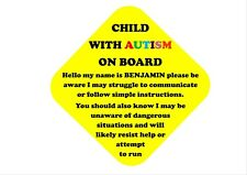 AUTISM/SPECIAL NEEDS CHILD ON BOARD PERSONALISED CAR SIGN