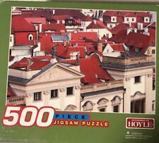 """HOYLE 500 Piece Jig saw Puzzle size: 13.5"""" x 19"""" Red Roof Top statues 10+ homes"""