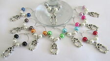 SET OF 10 WINE GLASS RINGS CHARMS  CUTE TIBETAN SILVER OWLS