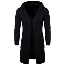 New Trend Thick Men's Windbreaker Long  Hooded Sweater  Cardigan Jacket Coat