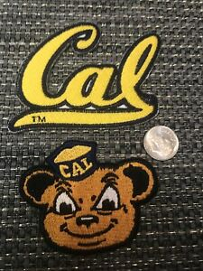 (2) California CAL Golden Bears Vintage Embroidered Iron On Patch Lot  Patches