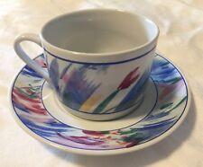 "Jewelstone ""Monet"" Coffee Cup Saucer Set *8-Available* Stoneware 1992 Sakura"