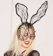 Costume Party Sexy Black Long Rabbit Bunny Ears Headband With Lace Eye Mask
