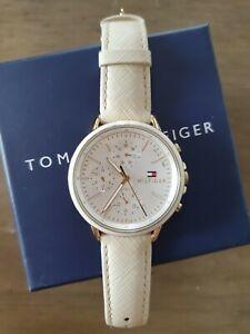TOMMY HILFIGER Armbanduhr Damen weiss/Gold Lederarmband ORIGINAL KARTON ANSEHEN!