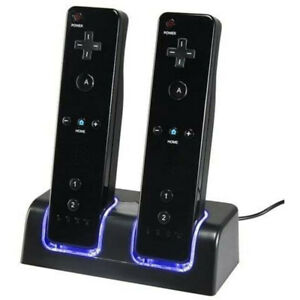 Charging Dock For Wii Remote Controller 2X Rechargeable Battery & Dock Station