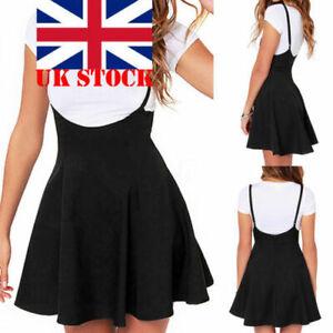 Womens Mini Skirt High Waist Strap Pleated Skater Overall Flare Suspender Dress