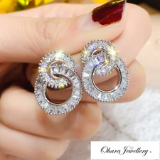 18K White Gold Round Circle Bling Silver Cubic Zirconia Stud Earrings Jewellery