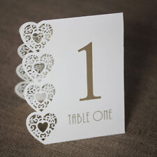 Ivory Wedding Table Numbers 1-15 Laser Heart Design